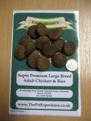 Easterbrooks Large Breed Adult Hypoallergenic Dog Food kibble beside a 5p coin