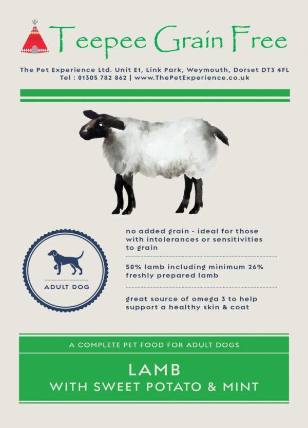 Teepee Grain Free Dog Food Lamb Label