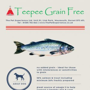 Teepee Grain Free Salmon Adult 15kg (Breeder Pack) – Salmon, Trout, Sweet Potato & Asparagus